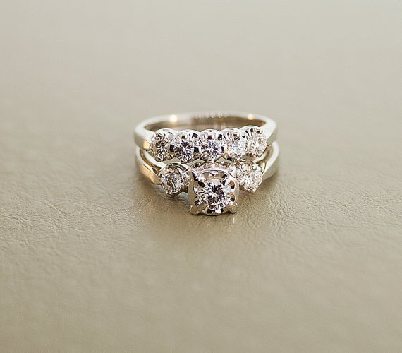 1940s vintage white gold diamond wedding ring set